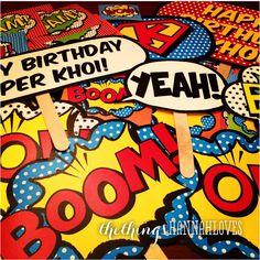 Superhero party photo props = Whack, Wham, Bam, Crunch, Zoom, Ka-Boom, Zap, Pow, Pop, Splat