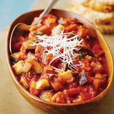 This ratatouille recipe is equally terrific whether you peel the eggplant or not. An ideal main dish for the vegetarian diet.