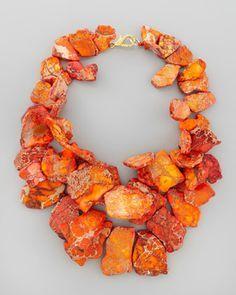 Chunky Orange Jasper Necklace
