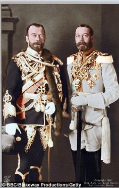 Family Feud that led to WWI: George V and Tsar Nicholas vs. Kaiser Wilhelm. All related to Queen Victoria through blood or marriage.