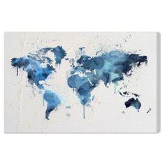 Oliver Gal 'Mapamundi Aqua' Canvas Art
