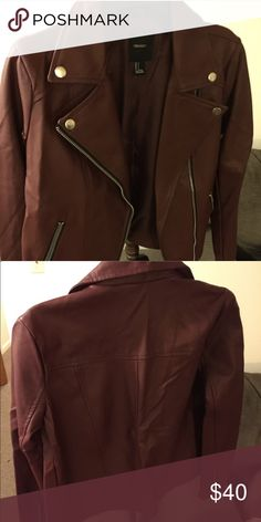 Forever 21 burgundy moto jacket Never worn | measurements can be provided on comments | size S | first pic is true to color | Forever 21 Jackets & Coats