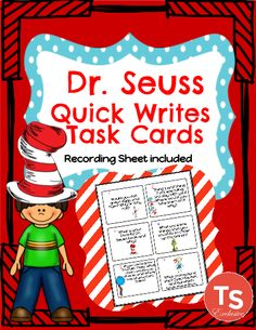 These Dr. Seuss Task Cards include 18 short writing tasks and a recording sheet. Students look at each task and record their response on the recording sheet. Prompts are about a variety of Seuss characters and books focusing on the creativity of the writer! Easy Engagement!