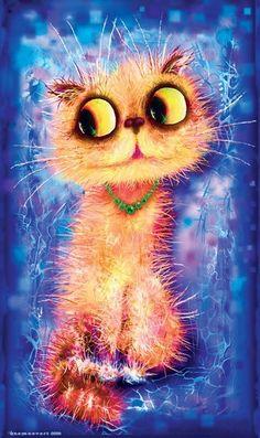 Прикольные рисунки кошек от Бориса Касьянова