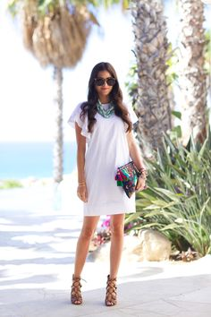 jcrew-white-summer-dress with a colorful clutch