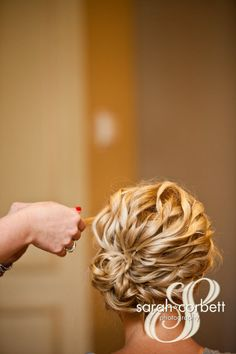 wedding hair, curly up do, from behind