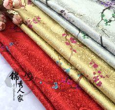 Damask plum cloth costume Hanfu kimono silk satin COS Tangzhuang Qipao festive senior fabric/100cm*90cm #Affiliate