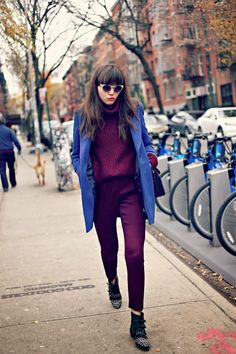 Great color combo: maroon + blue via Natalie Off Duty // Street style outfit