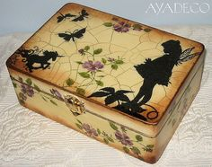 I love the black silhouettes with the colored flowers-Fairy box - decoupage by… Cigar Box Art, Fairy Box, Altered Cigar Boxes, Painted Wooden Boxes, Decoupage Box, Paper Crafts, Diy Crafts, Pretty Box, Vintage Box