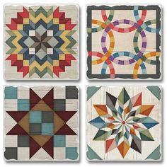 Barn Quilt Absorbent Stone Coasters - Set of Four Quilt Square Patterns, Barn Quilt Patterns, Square Quilt, Rug Patterns, Pattern Ideas, Barn Quilt Designs, Quilting Designs, Barn Quilts For Sale, Painted Barn Quilts