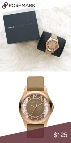 Marc Jacobs Henry Skeleton Watch 40mm Unused and in excellent condition. Gingersnap leather strap with rose gold face. Water resistant to 5 ATM. No trades! Marc Jacobs Accessories Watches