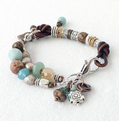 Brown Leather Semiprecious Stone Bracelet by connectionsbymaya- Like the design, but would prefer one metal, not mixed.