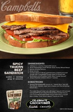 Spicy Tavern Beef Sandwich - This is one superb sandwich that's simply delish! Kitchen Recipes, Gourmet Recipes, Cooking Recipes, Campbells Sauces, Slow Cooker Recipes, Crockpot Recipes, Cambells Recipes, My Favorite Food, Favorite Recipes