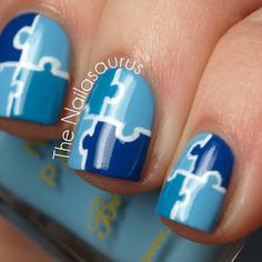 Blue & White Puzzle Nail Art