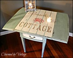 Beach Cottage meets Key West Vintage End Table by CharmedByVintage