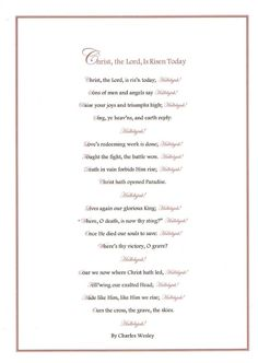 Free printable for hymn Christ, the Lord, Is Risen Today by Charles Wesley. Bookmark and full page version and multiple colors.