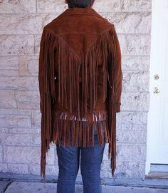 SRHides Mens Fringed Cowboy Western Leather Jacket Simple