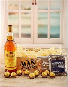 Birthday Presents and Gifts for men: Bells Man Crate! Good Birthday Presents, Birthday Gift For Him, Man Crates, Biltong, Twin Birthday, Hampers, Gifts For Him, Twins, Basket