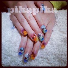 tropical beach sunset summer time gel nail  #nails #nail #fashion #style #TagsForLikes #cute #beauty #beautiful#instagood #pretty #girl #girls #stylish #sparkles #styles #gliter #nailart #art #opi#photooftheday #essie #unhas #preto #branco #rosa #love #shiny #polish#nailpolish #pikapika_nails