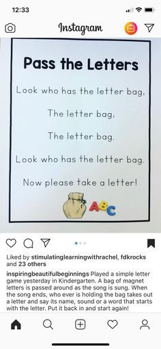 Letter bag game for preschool education. Great for circle time, morning meetings and small group activities. Preschool Songs, Preschool Literacy, Preschool Education, Preschool Letters, Letter Activities, Preschool Lessons, Learning Letters, In Kindergarten, Literacy Activities
