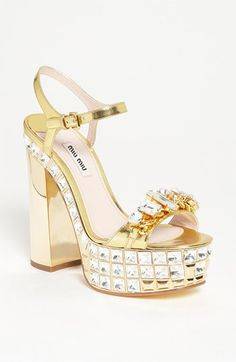 Miu Miu Ankle Strap Platform Sandal available at #Nordstrom. In LOVE!