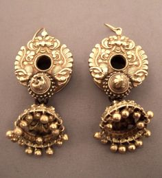 Earrings in 20k gold.  These old earrings are from Karnataka