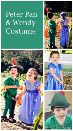 peter pan and wendy costume for Halloween.  The perfect boy and girl twins, brother and sister sibling, or couples costume.  Fun for Mickey's Halloween Party, Mickey's Not So Scary Halloween Party, or just trick or treating.