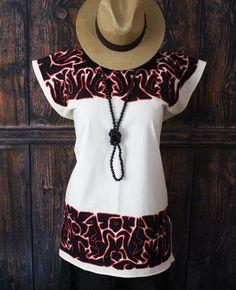 Black & Red Ayautla Huipil Squirrels Hand Embroidered, Oaxaca Mexico Hippie Boho #Handmade #Huipil