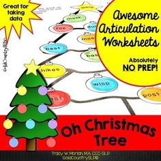 Oh Christmas Tree Awesome Articulation Worksheets: Added 240 words July 2015! NO COLOR INK! NO PREP! Now your groups that are working on DIFFERENT speech sounds can have fun doing the SAME activity! 20 words per sheet.