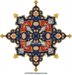 Clipart of Blue, green, red and gold Arabesque Design - Search Clip Art, Illustration Murals, Drawings and Vector EPS Graphics Images - Islamic Motifs, Islamic Art Pattern, Pattern Art, Arabesque Design, Arabesque Pattern, Turkish Art, Turkish Tiles, Iranian Art, Clip Art