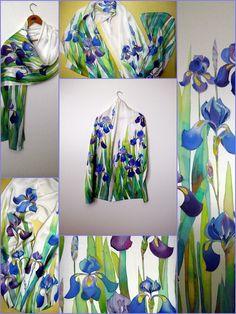 batik silk satin scarf womens scarf blue irises long by Allatai