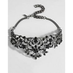 Regal Rose Midnight Black Crystal Ornate Choker ($39) ❤ liked on Polyvore featuring jewelry, necklaces, choker jewellery, crystal stone necklace, crystal choker necklace, adjustable necklace and crystal choker