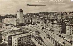 En le zeppelin Hindenburg survole Lausanne et la tour Bel-Air Lausanne, Zeppelin, Bel Air, Old Pictures, Old Photos, Homeland, Vintage Posters, Switzerland, Paris Skyline