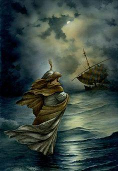 Jesus walking on the Sea of Galilee ~ artist Val Bochkov