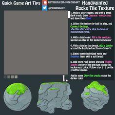 Quick Game Art Tips - Handpainted Rocks Tile Texture Unity Tutorials, Art Tutorials, Minion Art, Minions, Creating Games, Vfx Tutorial, Quick Games, Game Textures, Video Game Development