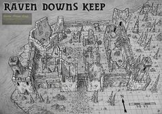 Raven Downs Keep by Djekspek map cartography | Create your own roleplaying game material w/ RPG Bard: www.rpgbard.com | Writing inspiration for Dungeons and Dragons DND D&D Pathfinder PFRPG Warhammer 40k Star Wars Shadowrun Call of Cthulhu Lord of the Rings LoTR + d20 fantasy science fiction scifi horror design | Not Trusty Sword art: click artwork for source