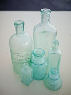 Vintage blue glass bottles: using these for my wedding