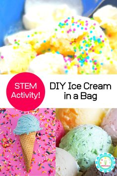 Summer and ice cream go hand in hand. But how about making ice cream in your hands? That's what the ice cream in a bag science experiment is all about! #scienceexperiments #stemactivities #kidsactivities #summerfun At Home Science Experiments, Science Activities For Kids, Stem Activities, Mad Science, Science Fair, Science Projects, Diy Ice Cream, Ice Cream At Home, Ice Cream Science