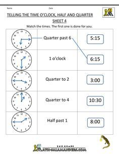 Telling Time Worksheets - O\'clock, Half and Quarter Sheet 4 | fun ...