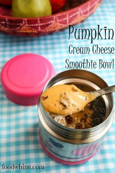Pumpkin Cream Cheese Smoothie Bowl. Make this fall smoothie bowl in a thermos so you can keep it thick and cold, and take it with you on busy mornings.