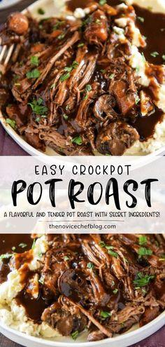 Chuck Roast Recipes, Pot Roast Recipes, Easy Dinner Recipes, Crockpot Recipes Roast Beef, Recipe For Chuck Roast, Roast Beef Instant Pot Recipe, Kale Recipes, Healthy Recipes, Roast Beef Dinner