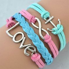 Finish off your stylish summer look with these fab charm bracelets.They feature faux leather strings in bright hues and three pendants made of alloy.Don't just keep it yourself,share them with yours close friends.
