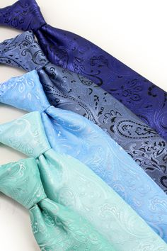 Choose from 30 trending bridal hues. Each color is available as neckties, bow ties, as well as XL length ties, kids sized ties, and of course as matching pocket squares. Paisley Wedding, Paisley Tie, Pocket Squares, Groom And Groomsmen, Neckties, Bow Ties, Summer Wedding, Spring Fashion, Menswear