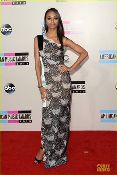 Zoe Saldana in Roland Mouret gown - At the 2013 American Music Awards held at the Nokia Theatre L.A. Live in Los Angeles.  (November 24, 2013)