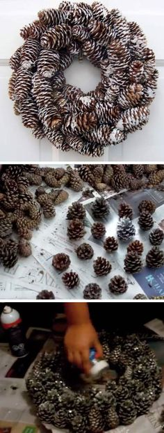 Sparkly Pinecone Wreath | DIY Rustic Christmas Decorations Cheap | Homemade Christmas Decor Ideas on a Budget