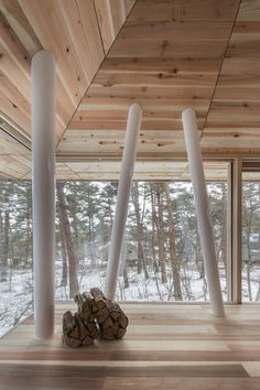 World Architecture Community News - Life Style Koubou creates slender stilts to protect this family house from Bandai-san's snowfalls Fukushima, Architecture Design, Contemporary Architecture, Amazing Architecture, Das Hotel, Wood Interiors, Cozy Cabin, Winter House, Trees To Plant