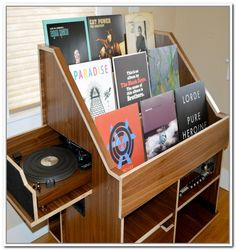 Vinyl merchandiser with listening station.