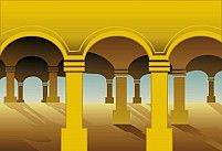 Free U- Shaped pillars in radiant yellow light Illustration