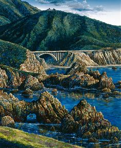 Robert Lyn Nelson  24x36 Oil/canvas  Bixby Creek Bridge  Big Sur,Ca.  @robertlynnelson.com