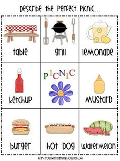 freebie picnic picture word bank with writing paper!
